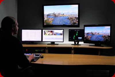 Online Editor and Colourist, Simon Kotowicz, sits at the helm of an Avid DS Online Edit and Colour Grading Suite.